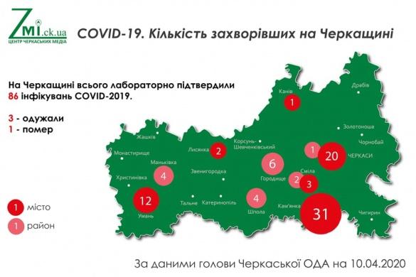 Станом на 10 квітня: географія поширення коронавірусу на Черкащині