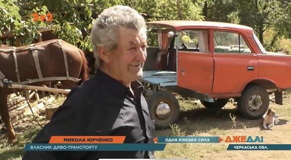 Пенсіонер із Черкащини запрягає коня в Москвич та їздить райцентром (ВІДЕО)