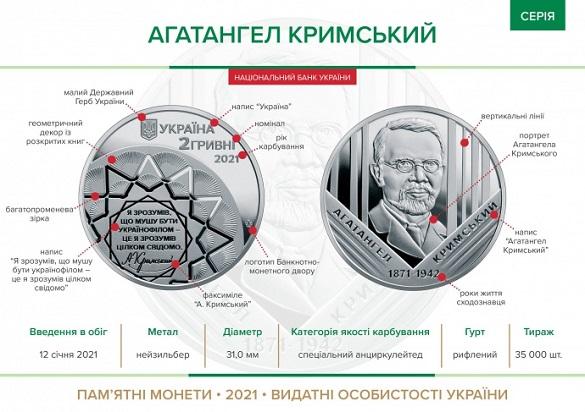 Нацбанк ввів в обіг нову пам'ятну монету присвячену Агатангелу Кримському