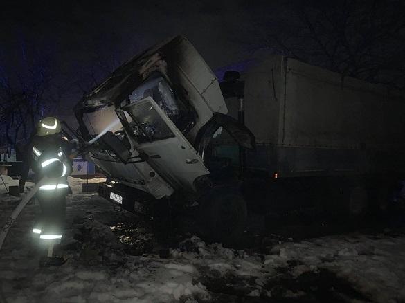 У селі на Черкащині підпалили кабіну вантажівки (ФОТО)
