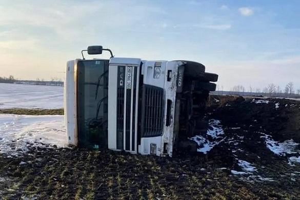 На полі між Уманню та Кропивницьким перекинулася вантажівка (ФОТО)