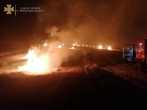 Рятувальники Черкащини ліквідували три пожежі на відкритих територіях