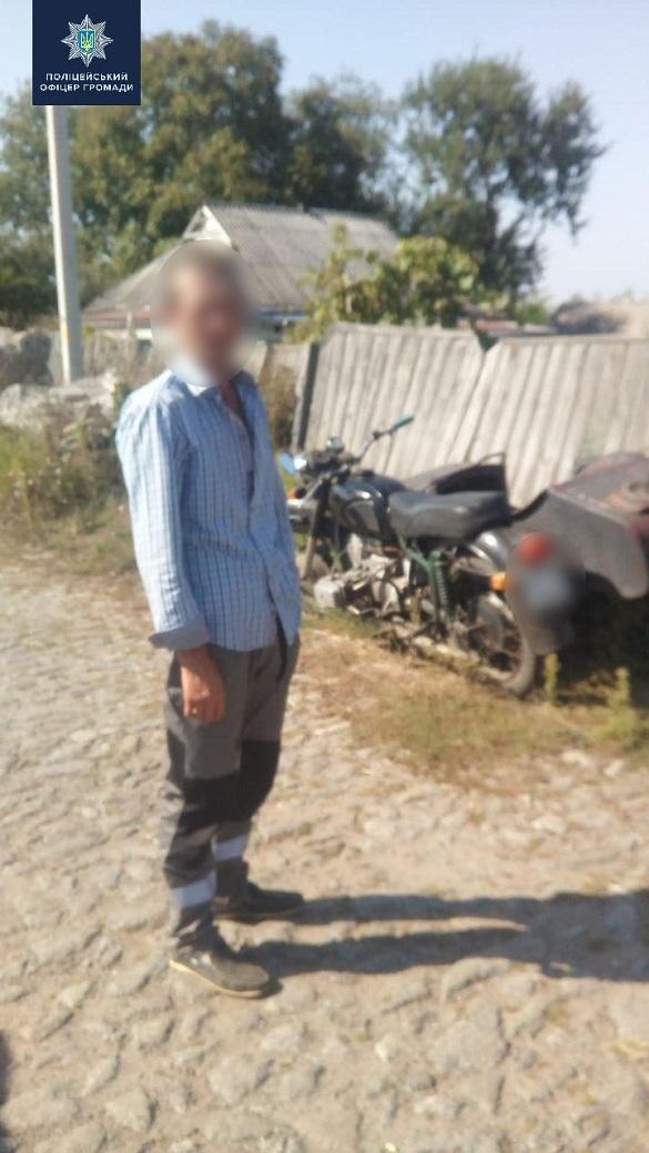 У селі на Черкащині виявили п'яного мотоцикліста