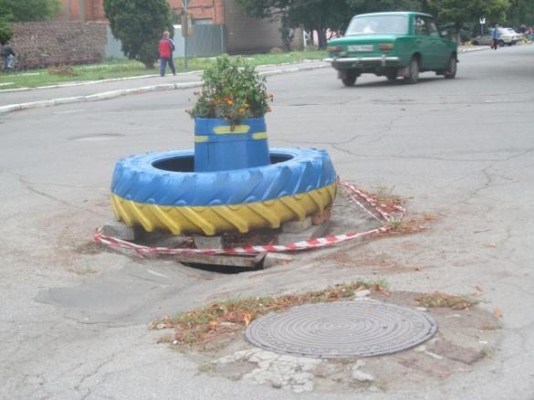 Ремонт по-черкаськи: провалля на дорозі затулили квітами (фотофакт)