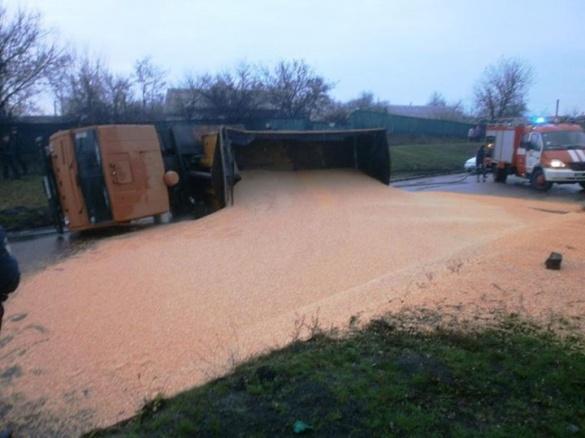 На Черкащині перекинувся КАМАЗ із зерном кукурудзи