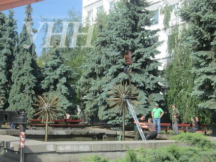 Фонтани біля Черкаської міськради забрали на ремонт