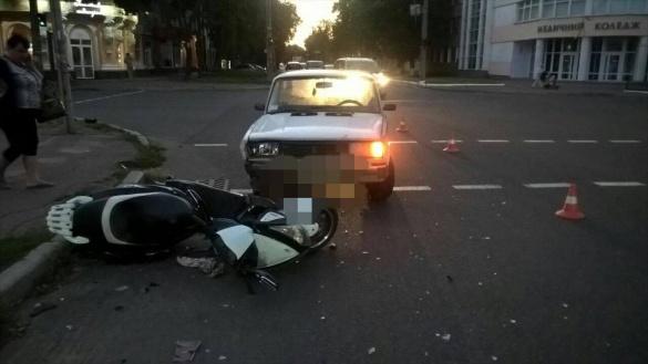 У центрі Черкас збили мотоцикліста (фотофакт)