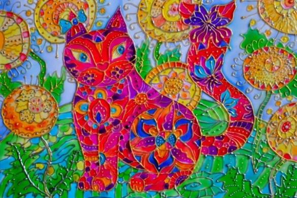 Картини на склі: з-під пера черкащанки народжуються сонячні котики (ФОТО)