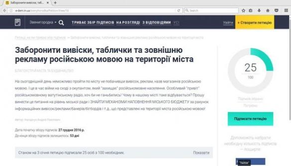 На Черкащині збирають підписи щодо заборони російськомовної реклами