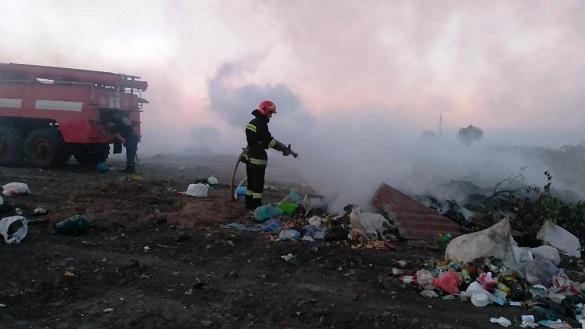 У Черкаській області сталася масштабна пожежа на сміттєзвалищі