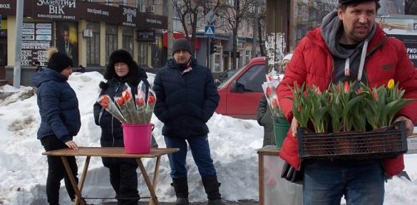 На бульварі Шевченка в Черкасах триває квітковий ярмарок до 8 березня (ВІДЕО)