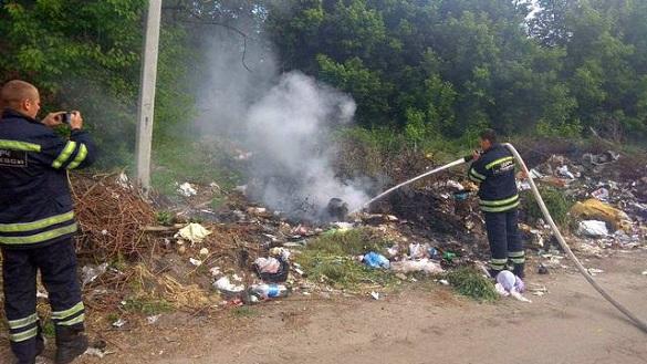 У Черкасах сталася пожежа на несанкціонованому сміттєзвалищі (ФОТО)