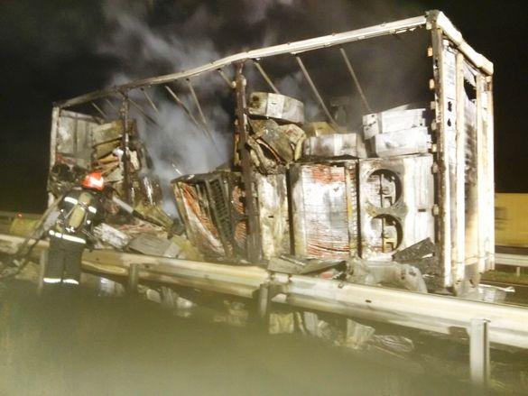 Спалахнула просто під час руху: на автодорозі Черкащини горіла вантажівка (ВІДЕО)