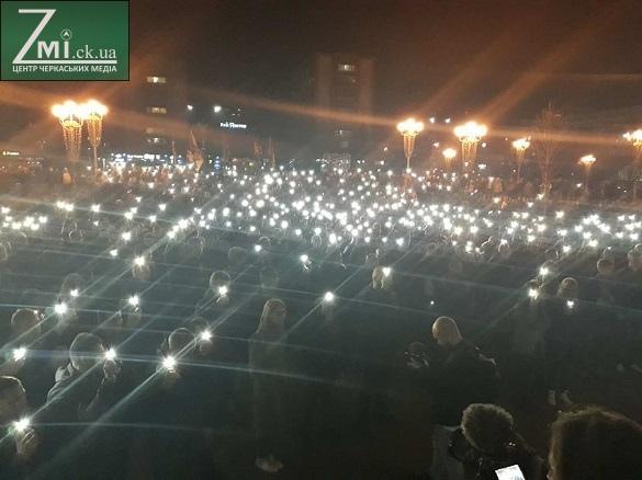 У центрі Черкас під час протесту вшанували пам'ять загиблого бійця (ФОТО)
