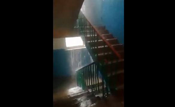 У Черкасах під час сильної зливи затопило під'їзд (ВІДЕО)